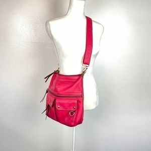 Fossil Hot Pink Genuine Leather Crossbody Purse